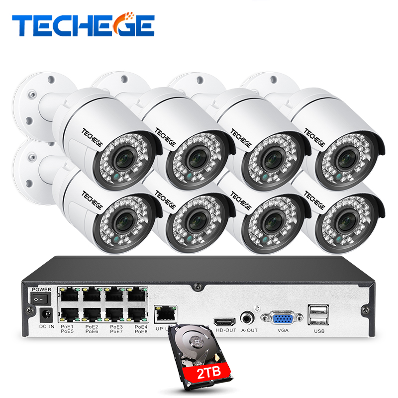 Techege P 8CH 1080 P POE Система 2MP 3000TVL ip-камера облако 8CH P 1080 В p 48 В POE NVR система видеонаблюдения ночного видения комплект видеонаблюдения
