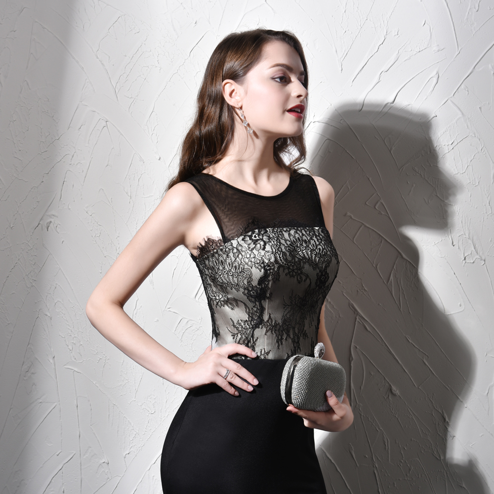 Fashion Prom Dresses Mermaid women dresses Black appliques vestido ...