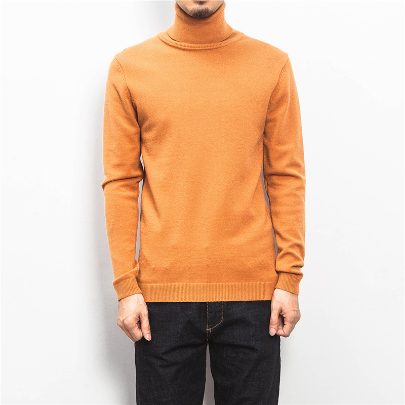 Sweater Men's New Autumn And Winter Large Size Simple Solid Color High Collar Cotton Knit Sweater Soft Warm Plus Size Pullover
