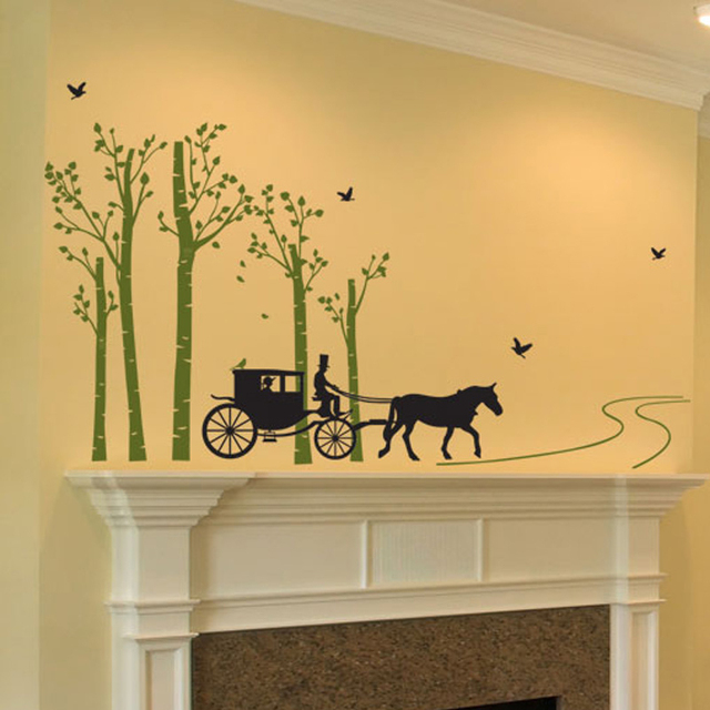 Forest Tree Bird Horse Carriage Road Wall Stickers Living Room ...