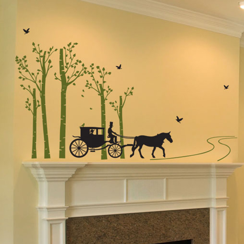 Forest Tree Bird Horse Carriage Road Wall Stickers Living Room Bedroom Painting TV background wall Decals home decor Poster