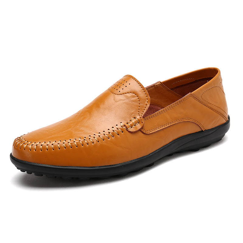 Genuine   Leather   Men Casual Shoes Fashion Brand 2019 Mens Loafers cowhide Breathable Slip on Driving Shoes Plus Size 38-47