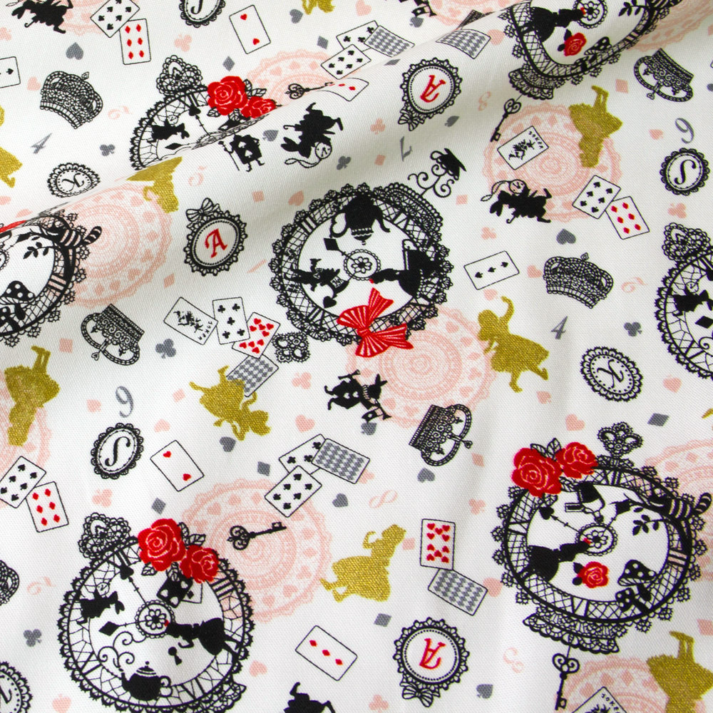 Alicewhite rabbit and teal polka dots on white Alice in Wonderland Japanese cotton oxford fabric half yard for handicraft projects