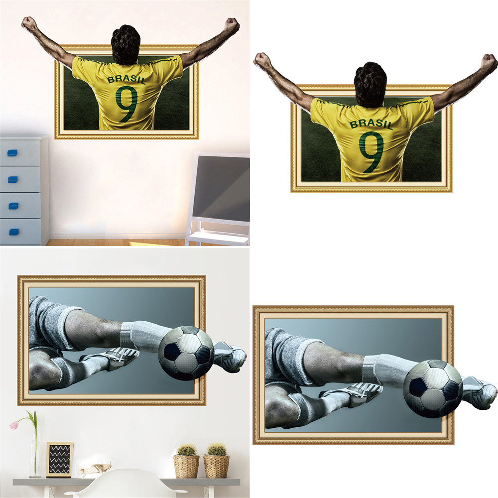 Wall Sticker 3D 2018 Russia World Cup Football Playing House Removable DIY Sports Decal Home Decor Living Room Art Signage F321