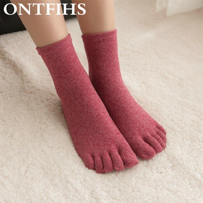 Fashion Women Toe Socks Ladies Female Cute Five Fingers Sock Pure Cotton Socks Solid Color