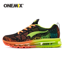 Onemix men's sport running shoes breathable mesh knit cushioned shock absorbant sole athletic trainers