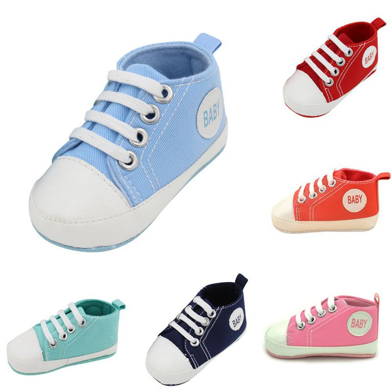 Kids Baby Boy Girl Casual Prewalkers Anti-Slip Soft Crib Bomuld Fashion Cute Walk Shoes