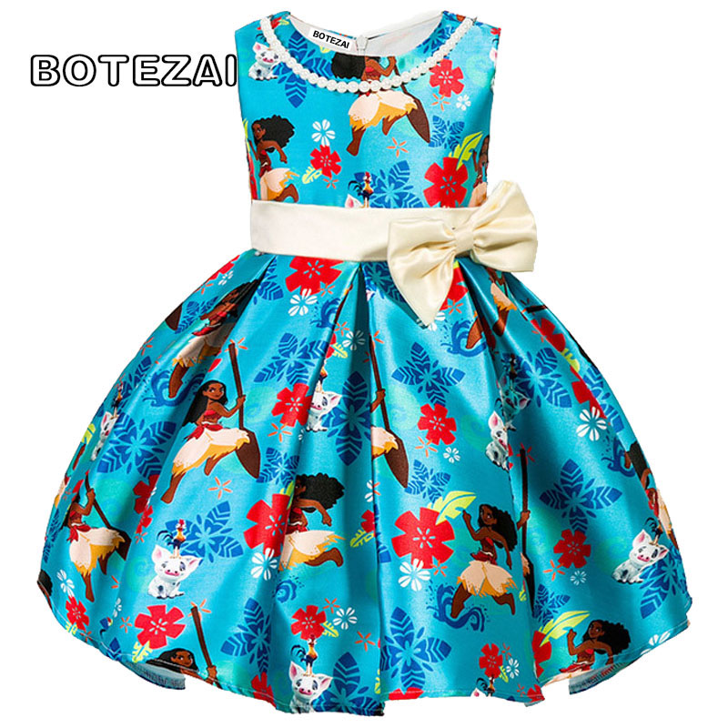 Girls Dress New Summer Costume Fashion Kids Dress Bow Party Moana Princess Dresses For Girls Children Clothing Baby Girl Clothes new girls flowers dress for wedding and party summer baby clothes princess kids dresses for girl children costume 3 10t w1625133