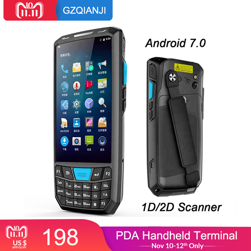 New Industrial pda Android 7 Mobile phone Scanner Terminal Handheld Data collector Terminal with 1d laser 2D QR Scanner Reader industrial rugged handheld data collector wireless 4g mobile data terminal 1d 2d laser barcode scanner android pda device
