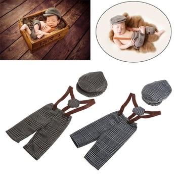 幼児男の子はほとんど紳士服新生児の写真の小道具チェック柄の衣装