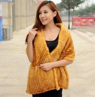 ZDFURS * high quality hot sale fur shawl knitted mink fur scarf muffler mink fur cape cloak fur wholesale