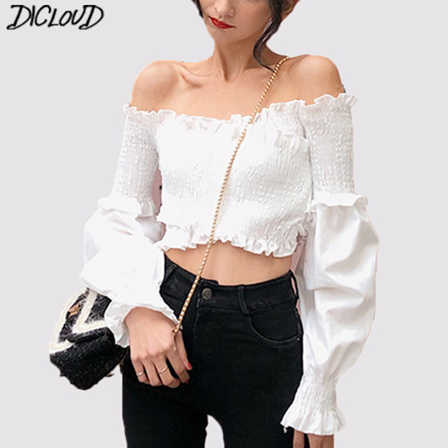 Women's Clothing Sexy Shirt Women Slash Neck Lantern Sleeve Slim Bandage Fashion Woman Blouses 2018 Korean Short Summer Top New