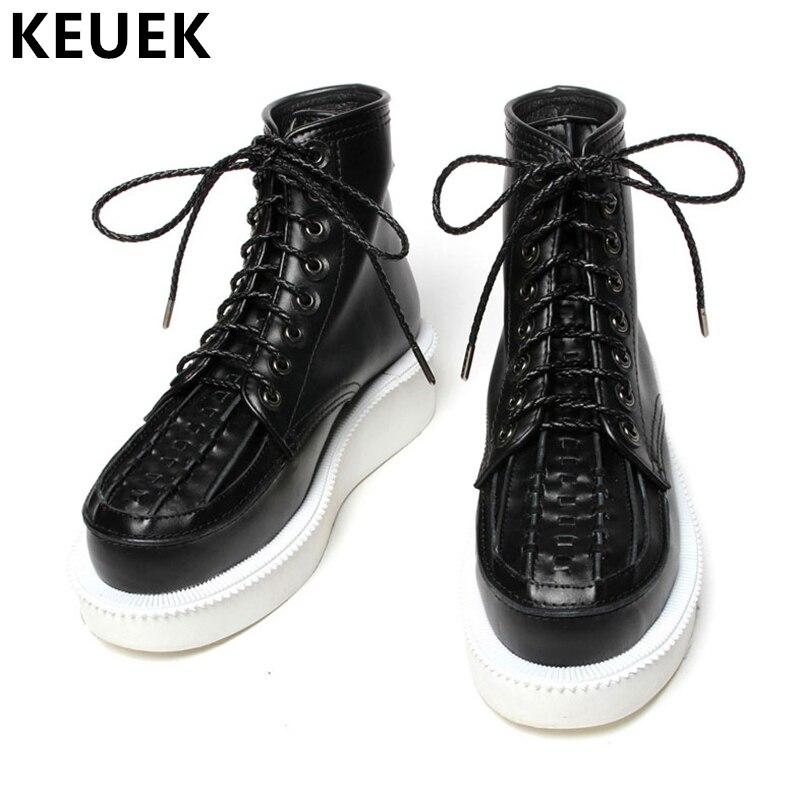 Automne hiver hommes bottes militaires à lacets chaussure plate-forme haut en cuir véritable bottes mâle cheville moto bottes 033