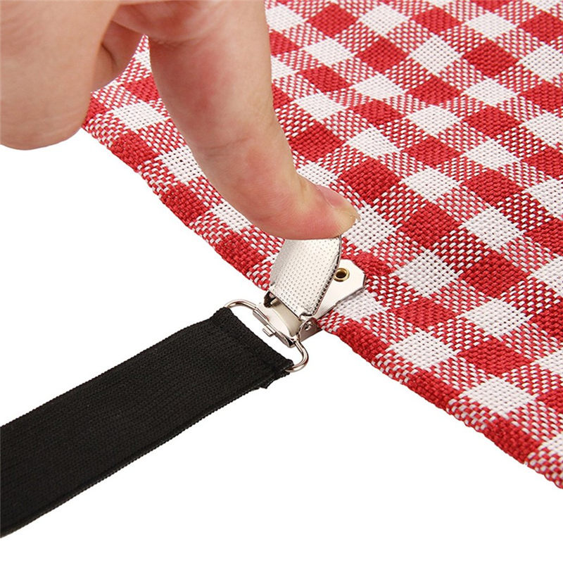 2 Colors 4Pcs Anti-skid Clasp Retaining Clip Tablecloths Bedspreads Sheets Fixed Clips Buckle Elastic Slip-resistant Belt