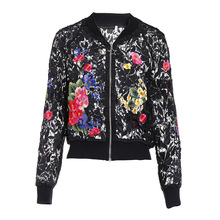 High quality hollow out baseball jackets women 2019 spring summer embroidered floral lace womens short coat G145