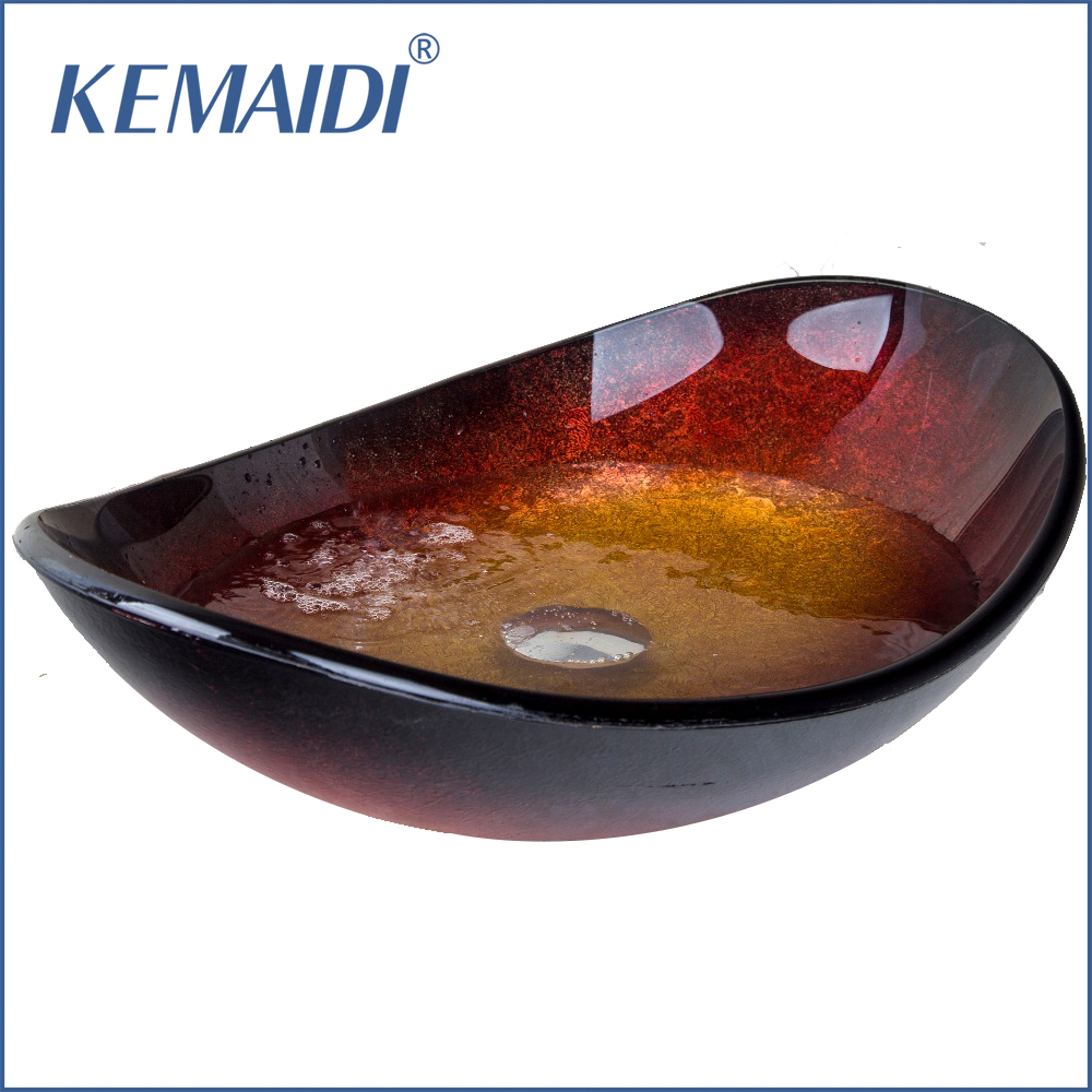KEMAIDI New Bathroom Oval Tempered Glass Basin Vessel Vanity Sink Bowl With Pop Up Drain Bathroom Sink Basin Faucet Tap