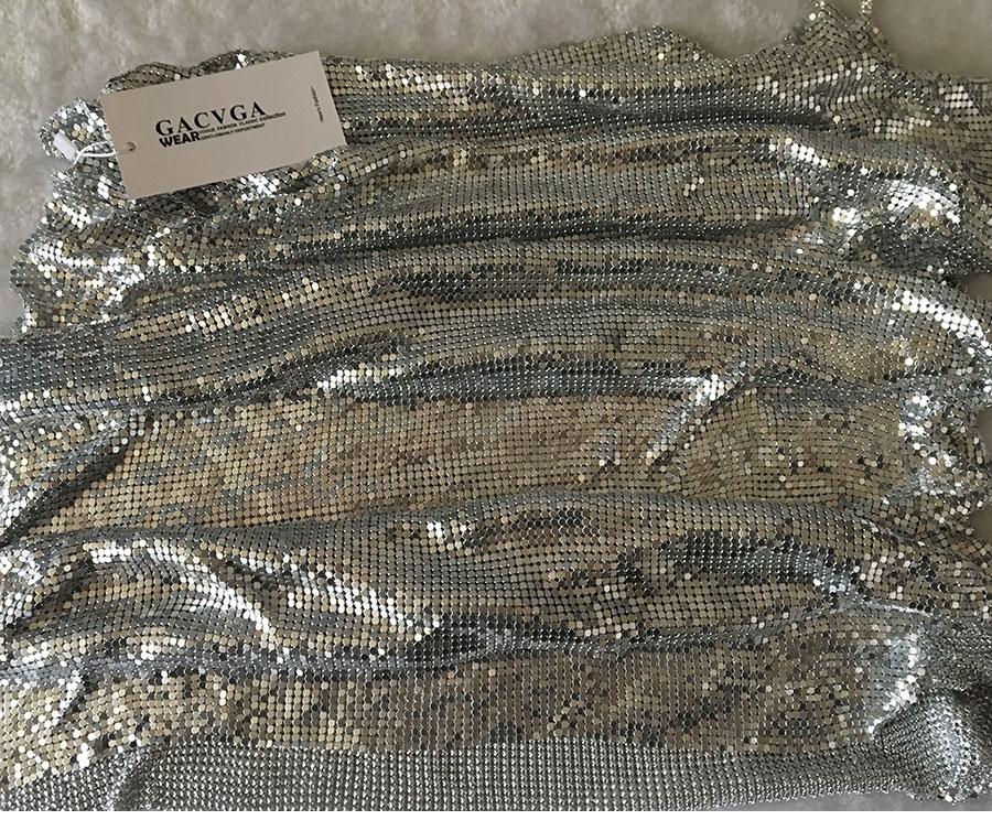 GACVGA 17 Sexy Diamond Halter Metal Party Dresses Gold Silver Summer Dress Vesitos Backless Sequins Women Dress 14