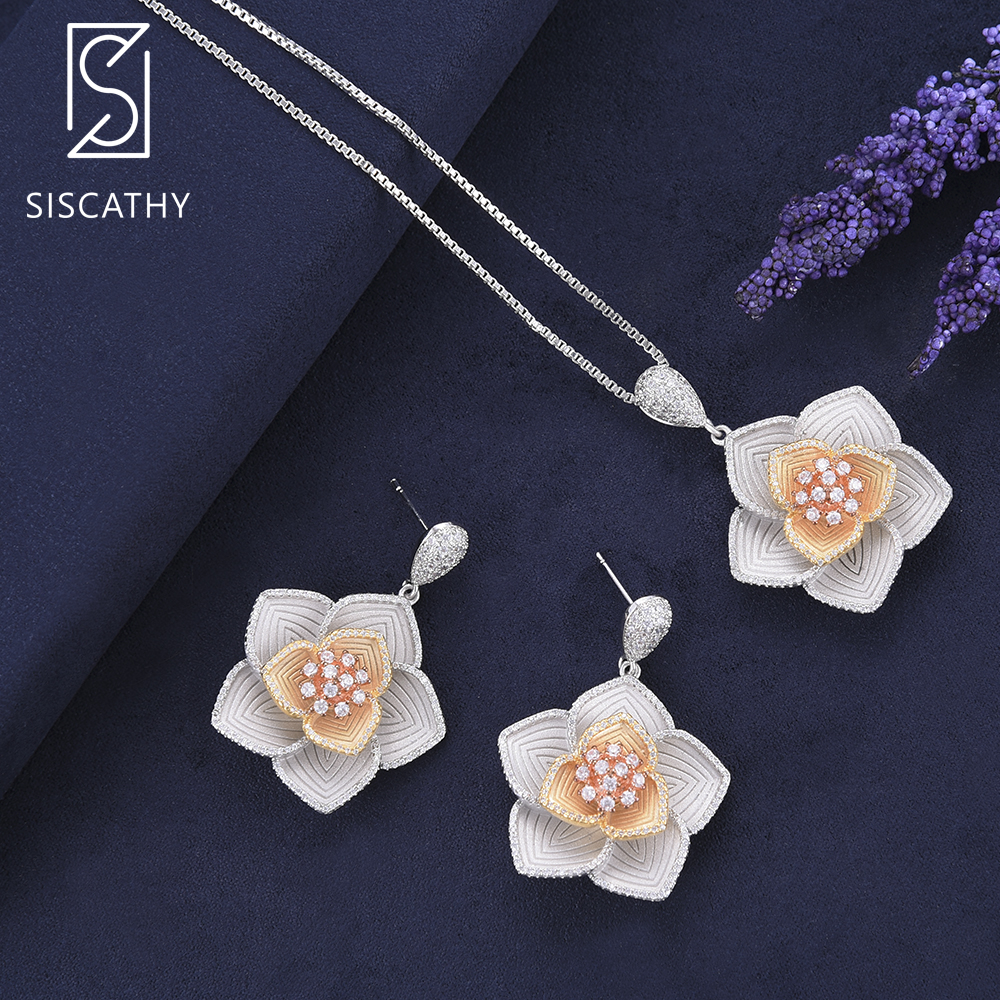 SISCATHY 28*42 mm African Fashion Jewelry Necklace Dangle Earrings Set Flower Shape Cubic Zirconia Inlaid Jewelry sets more