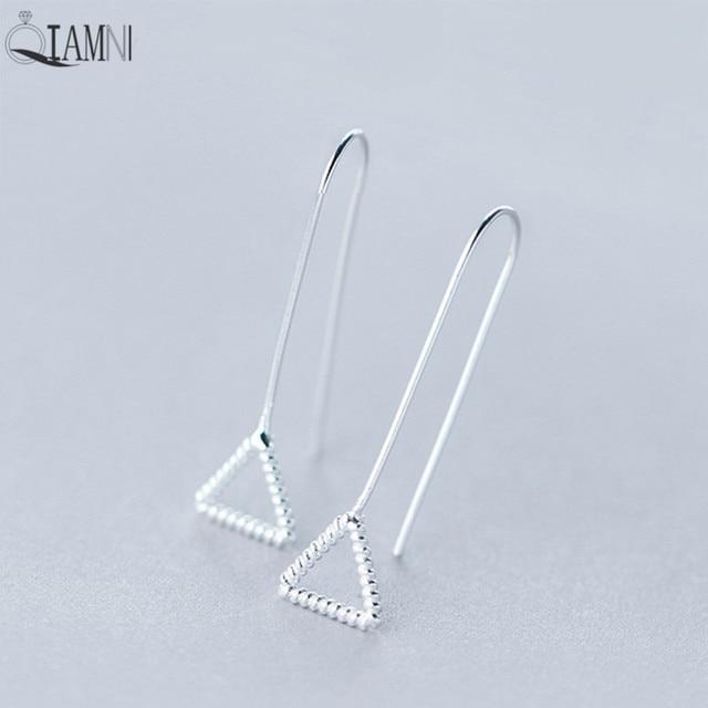 QIAMNI 925 Sterling Silver Triangle Geometric Pendant Dangle Hook ...