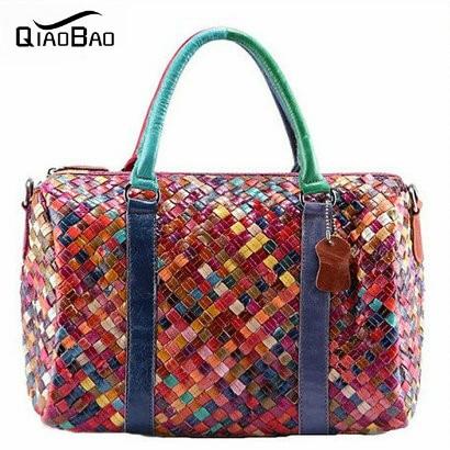 QIAOBAO 100% sheepskin Women Handbag Genuine Leather Bag Shoulder Bolsas Femininas Crossbody Tote Fashion Women Messenger Bags