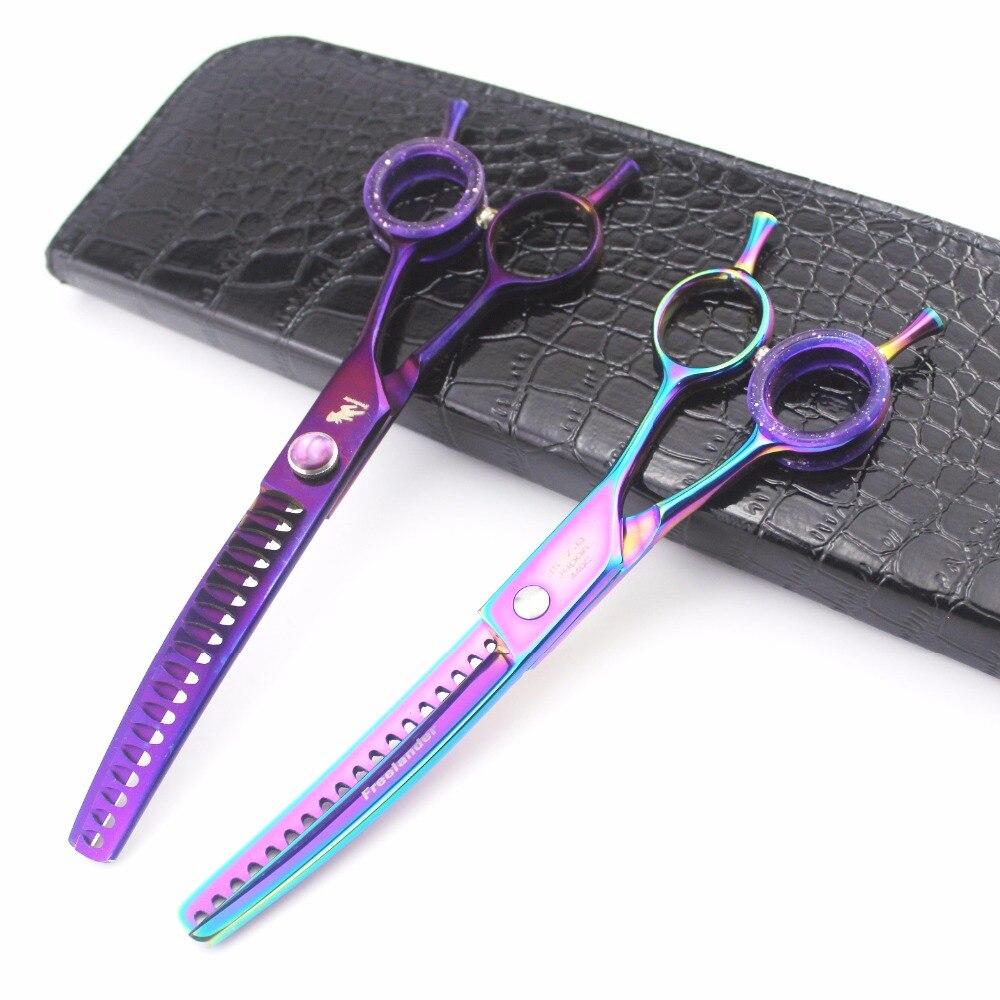 7.0 pouces couleur violet ciseaux à dents fines ciseaux de toilettage pour animaux de compagnie ciseaux amincissants ciseaux à os de poisson coupe cheveux ciseaux pour animaux de compagnie