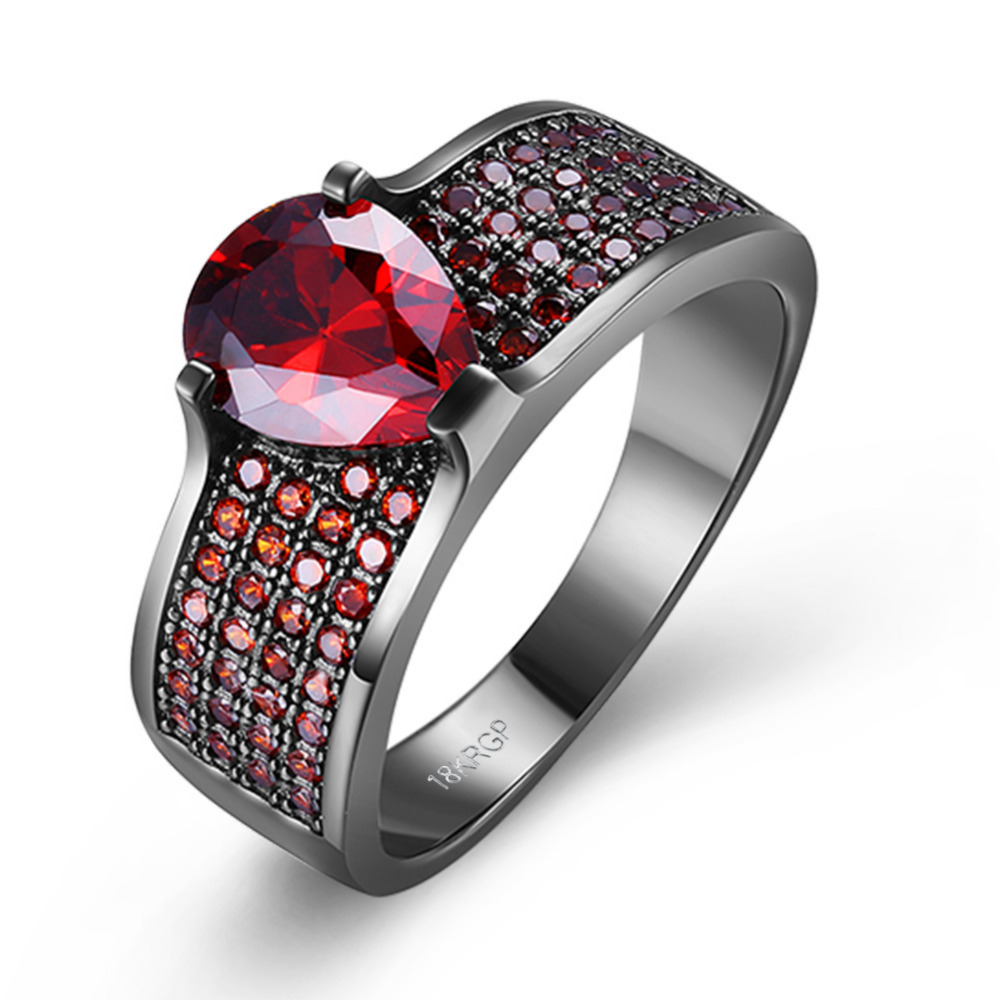 Vintage Black Gun Plated Bling Stone 4 Row Small Red Color Cubic Zirconia Charming stainless steel Rings For Women Wedding