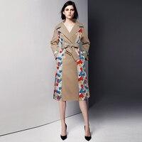 Vintage Embroidery Women Velvet Coat Fashion Long Sleeve Trenchcoat