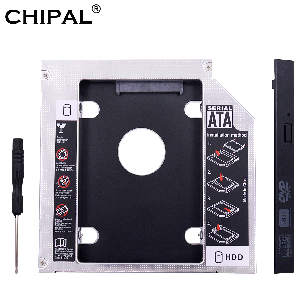 CHIPAL Caddy Cd-Rom Enclosure Case Hard-Disk SSD Laptop SATA Aluminum PATA IDE for DVD