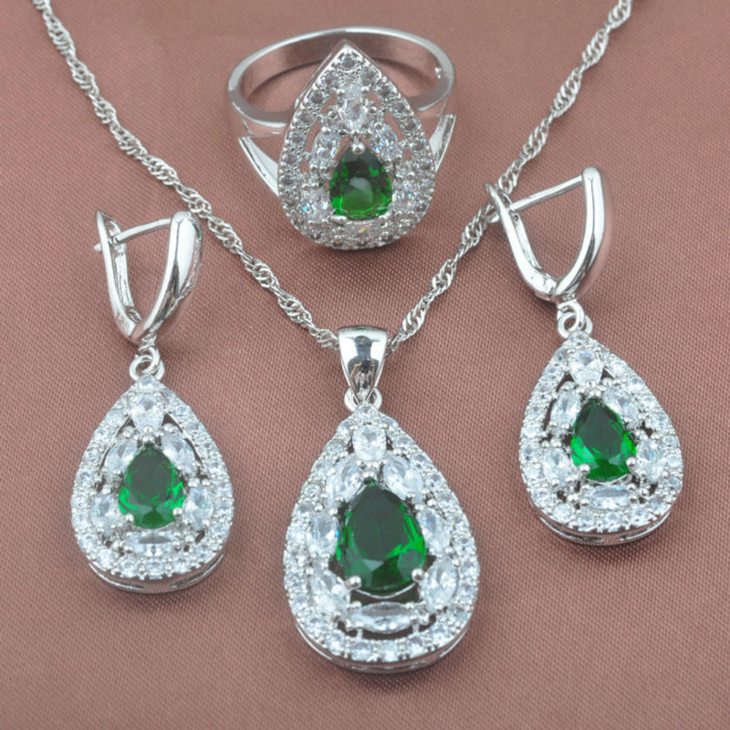 Green Zirconia Womens 925 Sterling Silver Noble Design Jewelry Sets Necklace Pendant Earrings Ring Free Shipping TZ0339