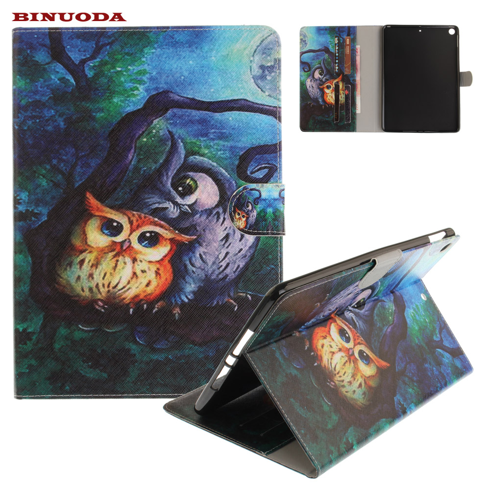 Cute Owl PU Leather Folio Stand Case With Magnetic Auto Wake Sleep Function Smart Cover for New iPad 9.7 2017 Edtion free shipping new 10 1 original stand magnetic leather case cover for lenovo ibm thinkpad 10 tablet pc with sleep function