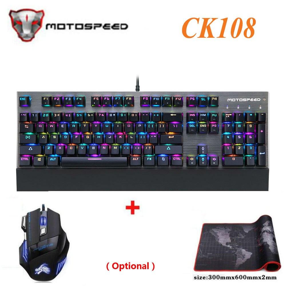 Original Motospeed CK108 Interruptor Com Fio de Jogo Teclado Mecânico 104 Chaves RGB LED Retroiluminado Anti-Ghosting para Computador Gamer PC