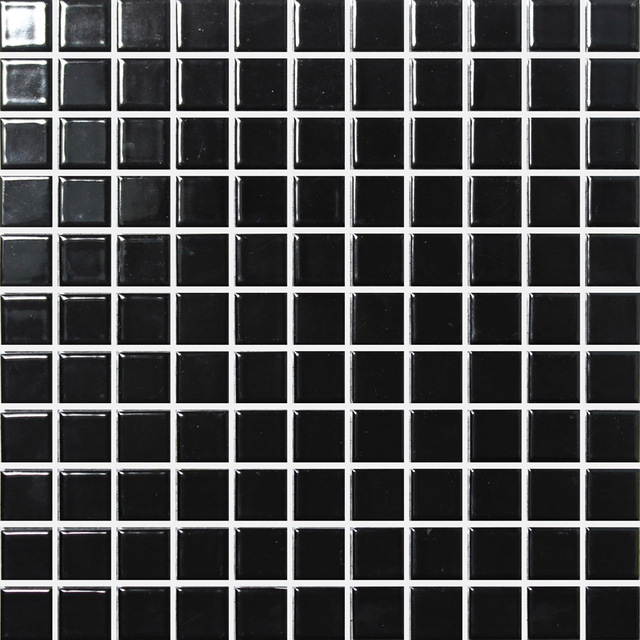 Black square ceramic mosaic tile kitchen backsplash tile for Balcony wall tiles