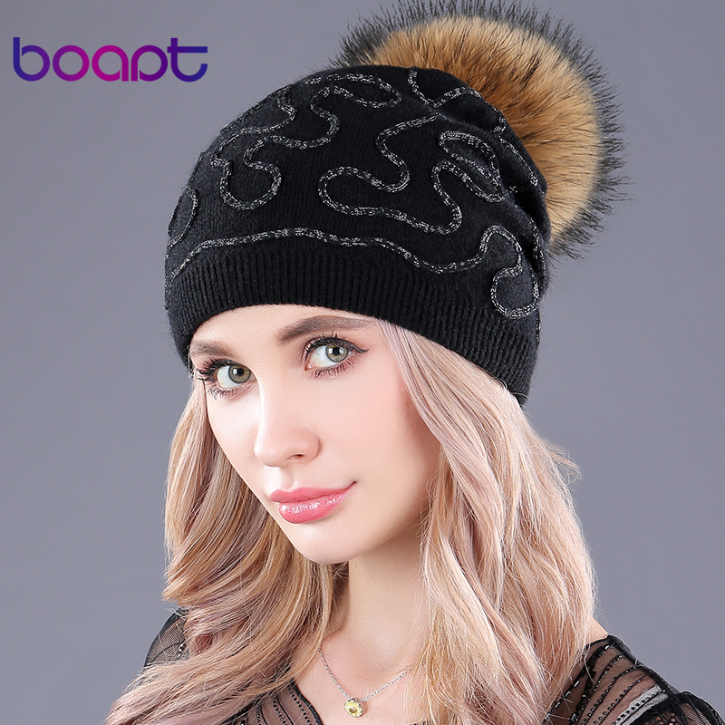 [boapt] new folds wool knitting hats genuine natural raccoon fur pompon women   beanie   thick winter female caps   skullies     beanies