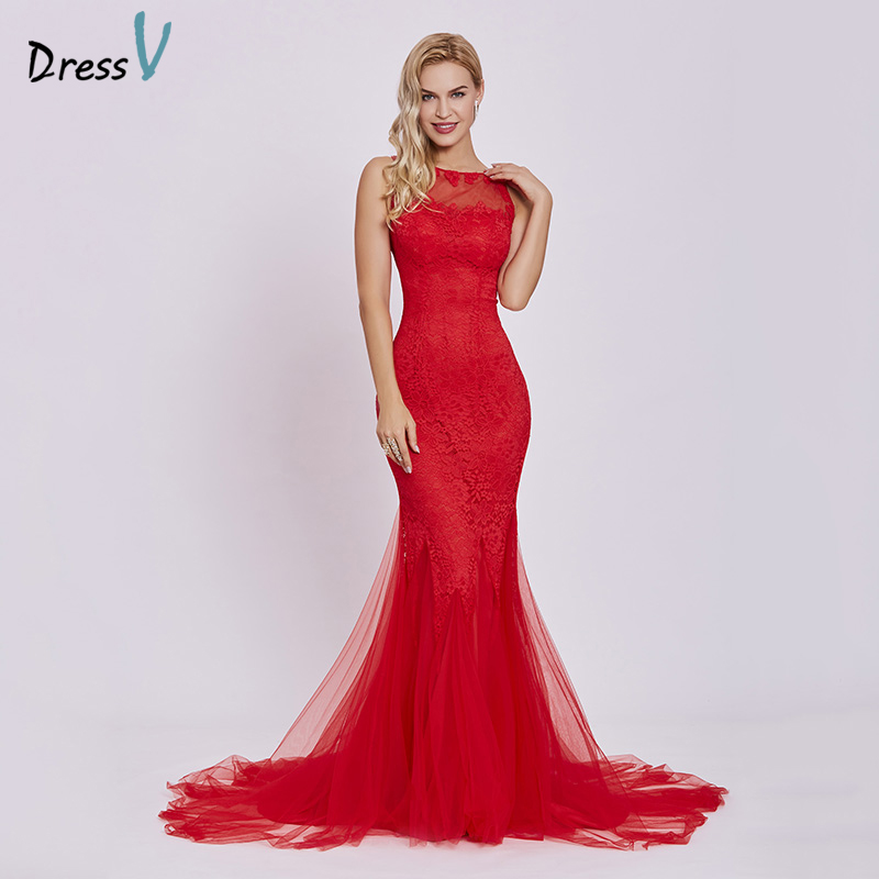 Dressv Red Evening Dress Cheap Sleeveless Mermaid Scoop Neck Backless Sweep Train Wedding Party Formal Trumpet Evening Dresses