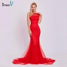 9925338b0 Dressv vestido de noche rojo barato sirena sin mangas cuello redondo sin  respaldo tren de barrido