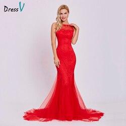 Dressv vermelho vestido de noite barato vestido sem mangas sereia festa de casamento formal trumpet pescoço da colher backless trem da varredura vestidos de noite