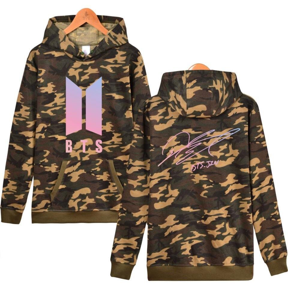 Mode BTS Bangtan Garçons Membre Signature K-pop Amour Vous-Même Fans Unisexe Hoodies Sweat Camouflage Femmes/Hommes Vêtements 4XL