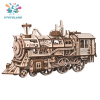 Free Shipping Creative Mechanical Gears 3d Wooden Puzzle For Children Movement Assembled Locomotive Steam Stem Gift Toys