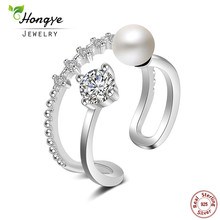Hongye Adjustable Freshwater Pearl Open Ring Solid 925 Sterling Silver Jewelry Double Circle Casual Women Rings Luxury Love Gift