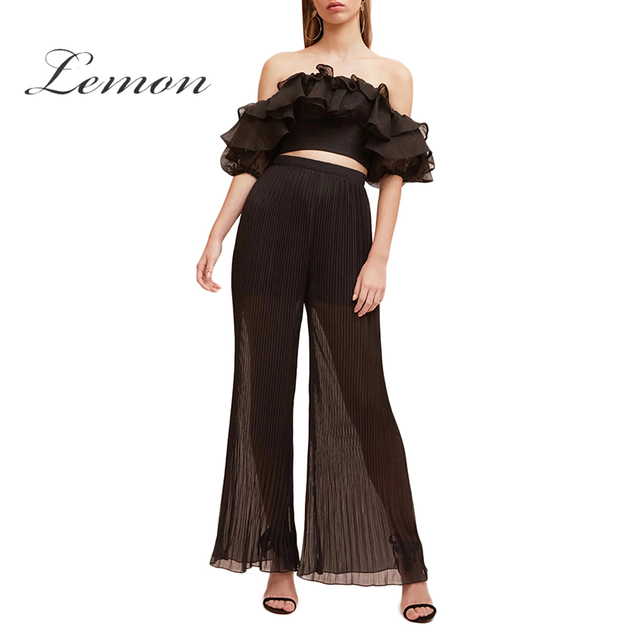 Limón gasa Pantalón ancho pantalones alta cintura Semi Sheer plisado  vendido agraciada negro pantalones para mujer 1ee1e99962aa