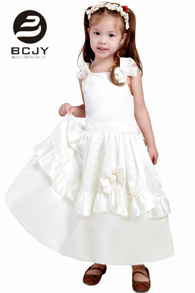 2019 Sweet Ivory White   Flower     Girl     Dresses   Square Neck Handmade   Flower   Ankle Length Custom Pageant   Dresses   for Little   Girls
