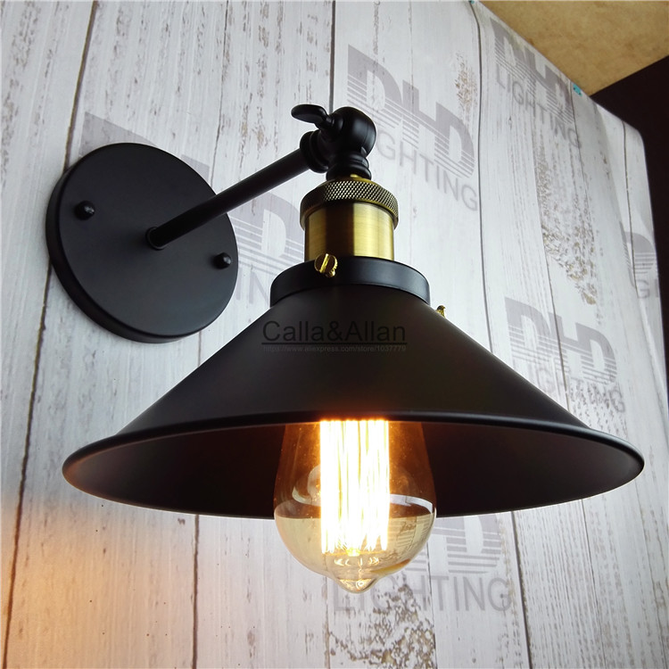 Free shipping vintage Industrial Lighting wall Light E27 Country Small Black Metal Lamp  ...