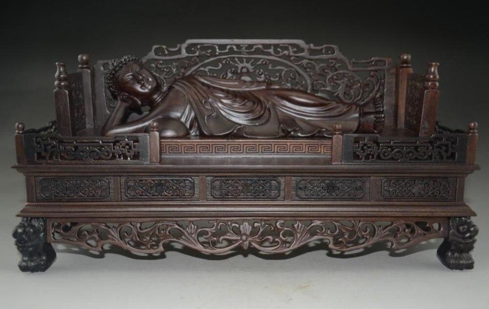 Exquis Chinois Palissandre Main-Sculpté Énorme de Couchage Bouddha
