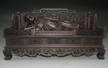 Super& Rare Chinese Rosewood Hand-Carved Huge Sleeping Buddha NR