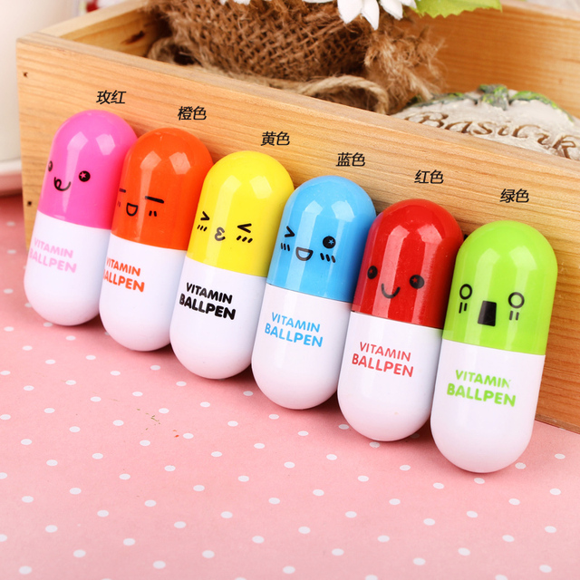 qshoic 100pcs lot cute expression retractable pills ballpoint