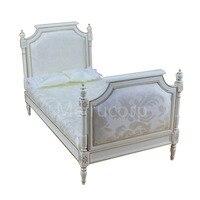 Миниатюра масштаб 1/6 кукольная мебель белый ручная роспись золото кровать Classic collection съемный