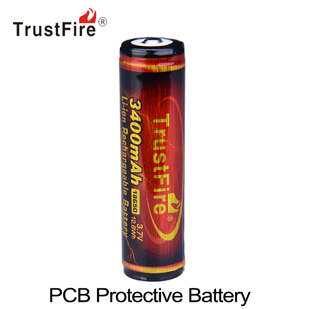 1pcs TrustFire 3400mAh 3.7V 18650 Rechargeable Battery High Capacity Li-ion Lithium Battery with Protected PCB for Flashlight 2pcs trustfire 2400mah 3 7v 18650 lithium battery rechargeable li ion battery with protected pcb for led flashlight headlamp