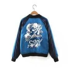 Women Bomber Jacket Blue Satin  Gradients Dragon Pattern Embroidery Coats Female Short Jacket New 2016 Streetwear Casual Outwear