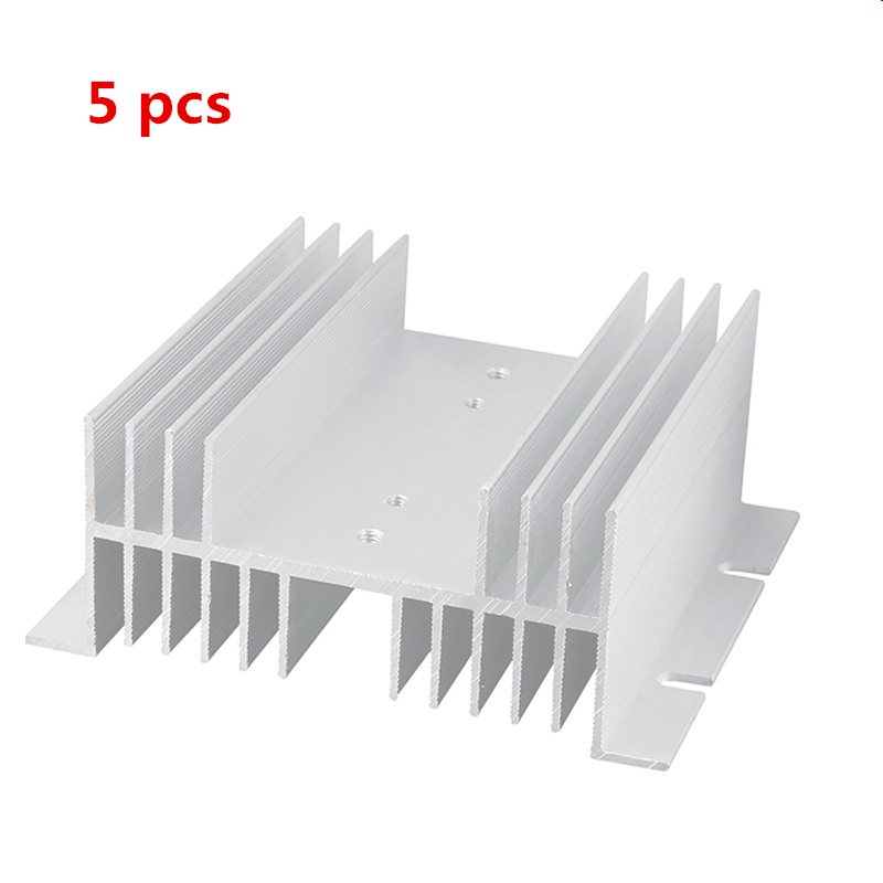 5pcs SSR Aluminum Heat Sink 10A-60A Silver Tone Solid State Relay HeatSink Radiator for Single Phase 125 x 70 x 50mm 1pc single phase solid state relay ssr heat sink aluminum dissipation radiator l059 new hot