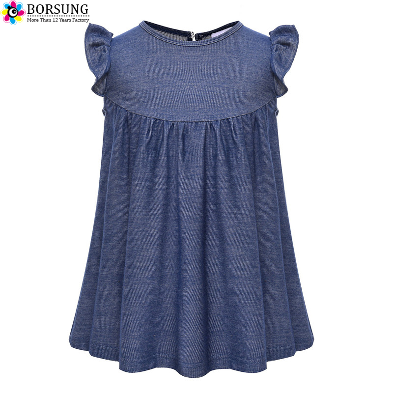 6M-8Y Knit Jeans Girls Tops For 2018 Summer Girls Clothes Short Sleeve Solid T shirt Baby Girl Tops Ruffle Tee Children Clothing stylish solid color batwing sleeve asymmetrical tops for women